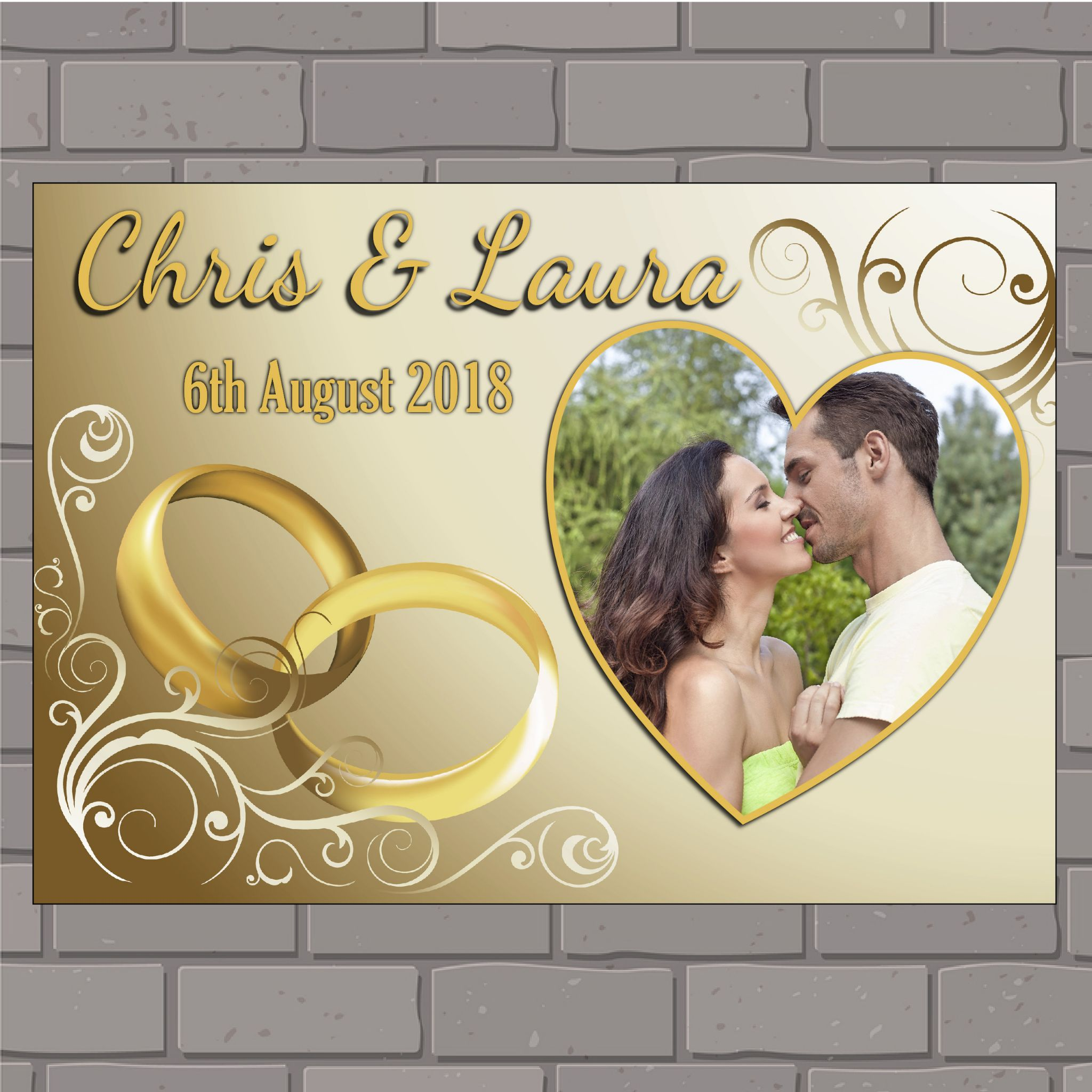 Personalised Congratulations Wedding Engagement Anniversary Party Photo Poster Banner N149 Gold Rings