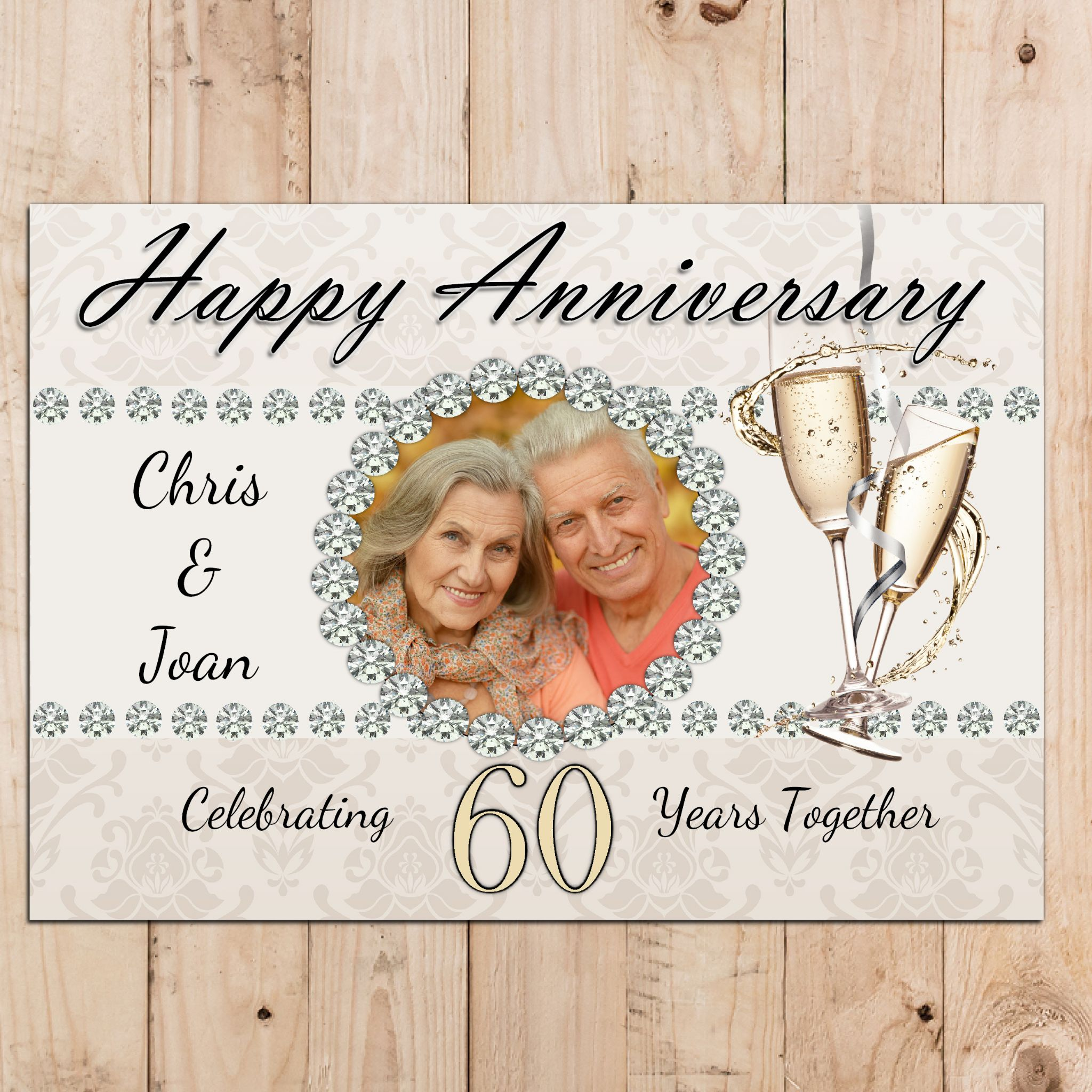 Personalised Diamond 60th Wedding Anniversary Party PHOTO Poster N49