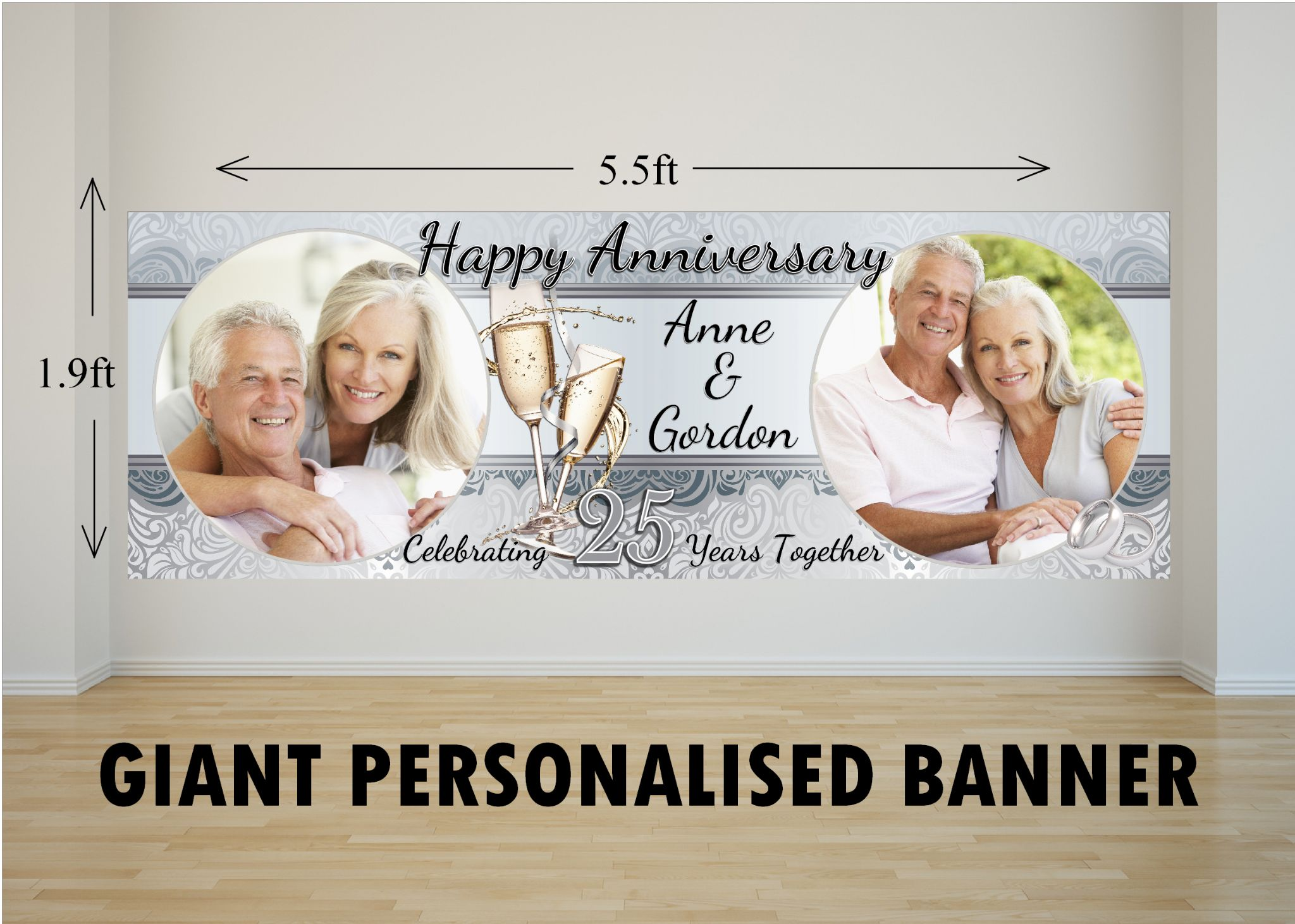 19 Wedding Anniversary Gifts By Year: Personalised GIANT Large 25th Silver Wedding Anniversary