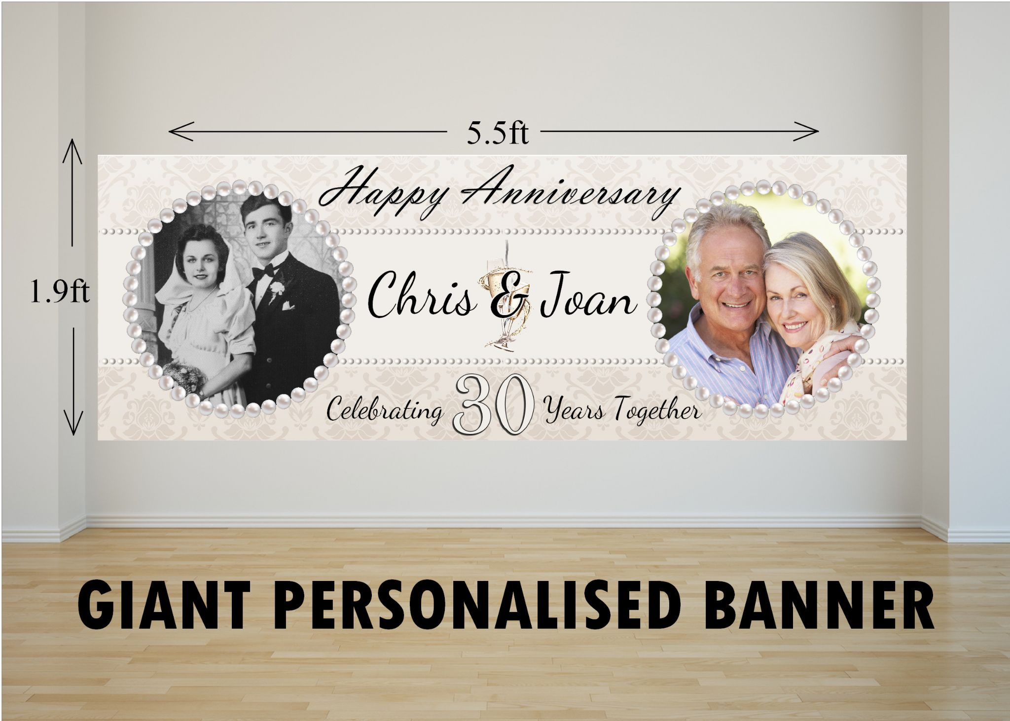 personalised giant large 30th pearl wedding anniversary photo