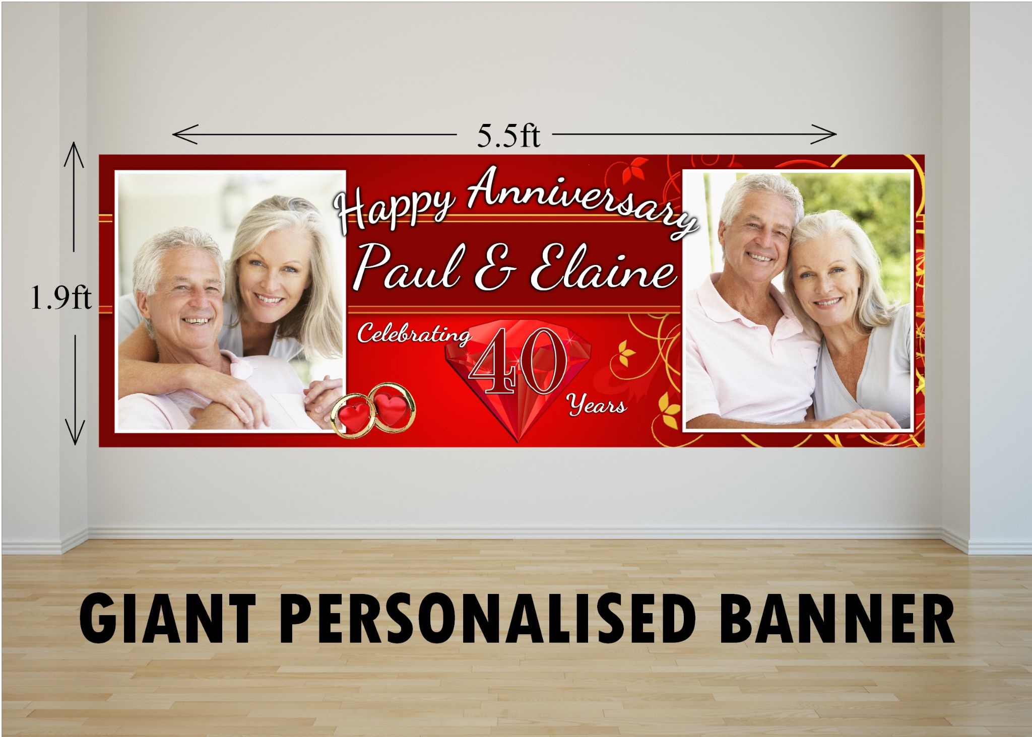 Personalised giant large 40th ruby wedding anniversary photo poster