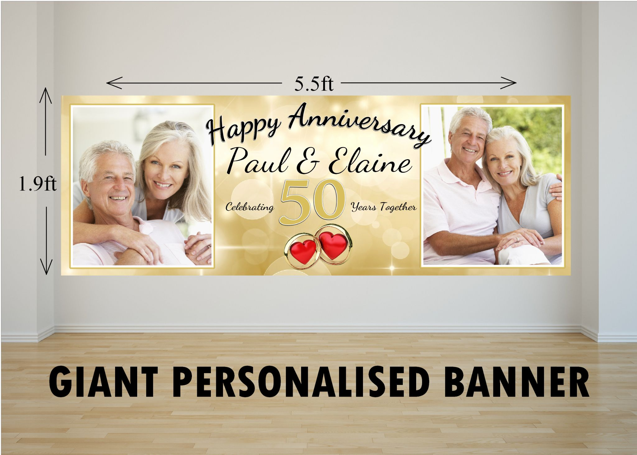 personalised giant large 50th golden wedding anniversary photo