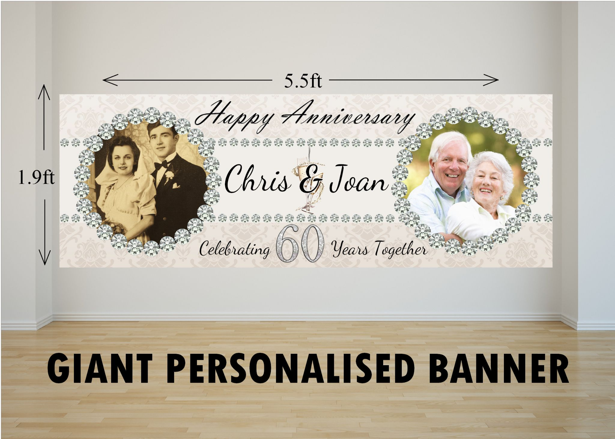 Personalised giant large 60th diamond wedding anniversary photo
