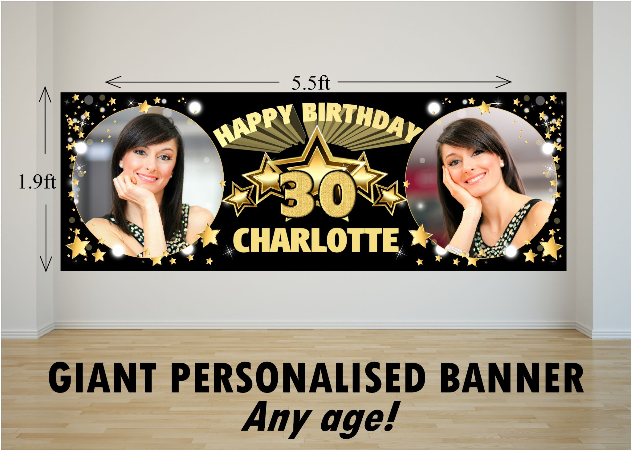personalised giant large black & gold stars happy birthday photo