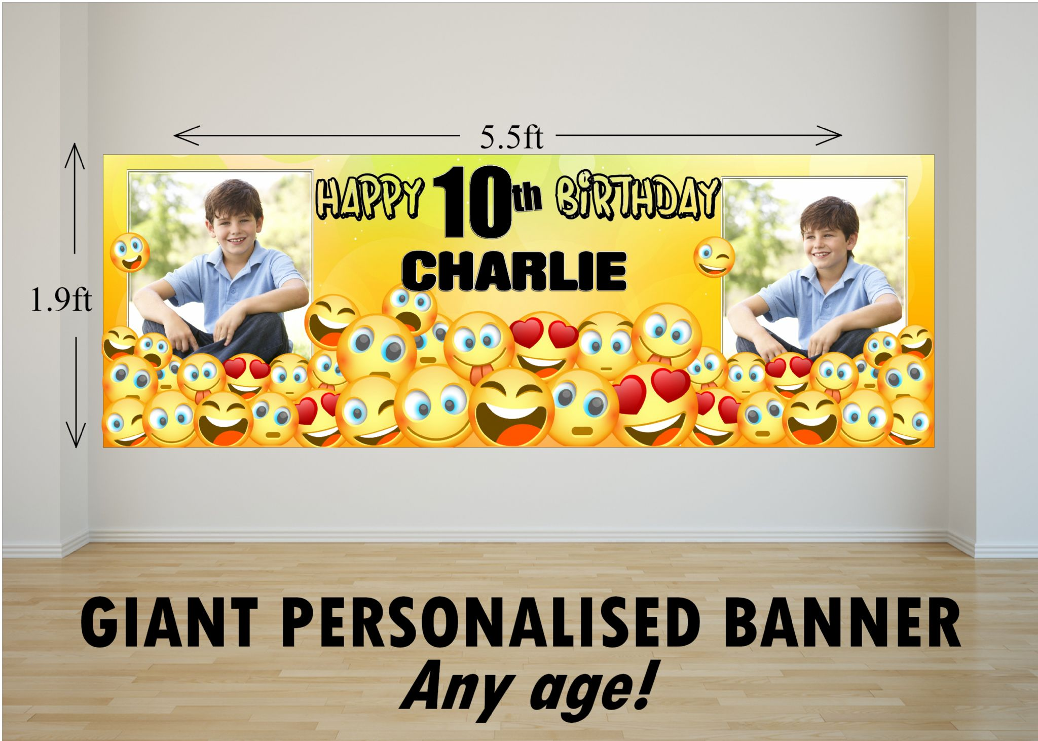 Personalised GIANT Large EMOJI Happy Birthday PHOTO Poster Banner N79 ANY AGE