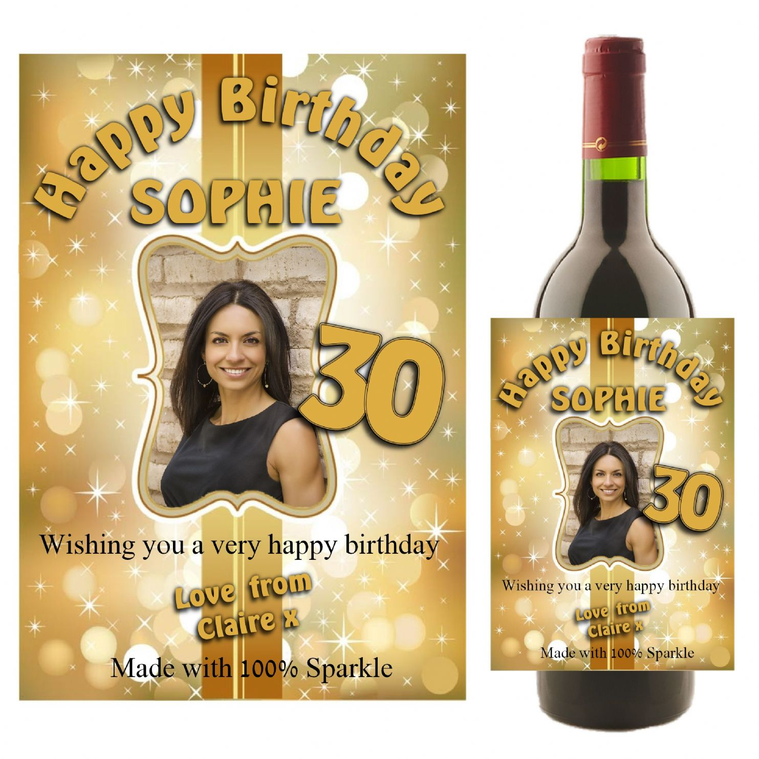 personalised gold sparkle happy birthday wine champagne bottle photo