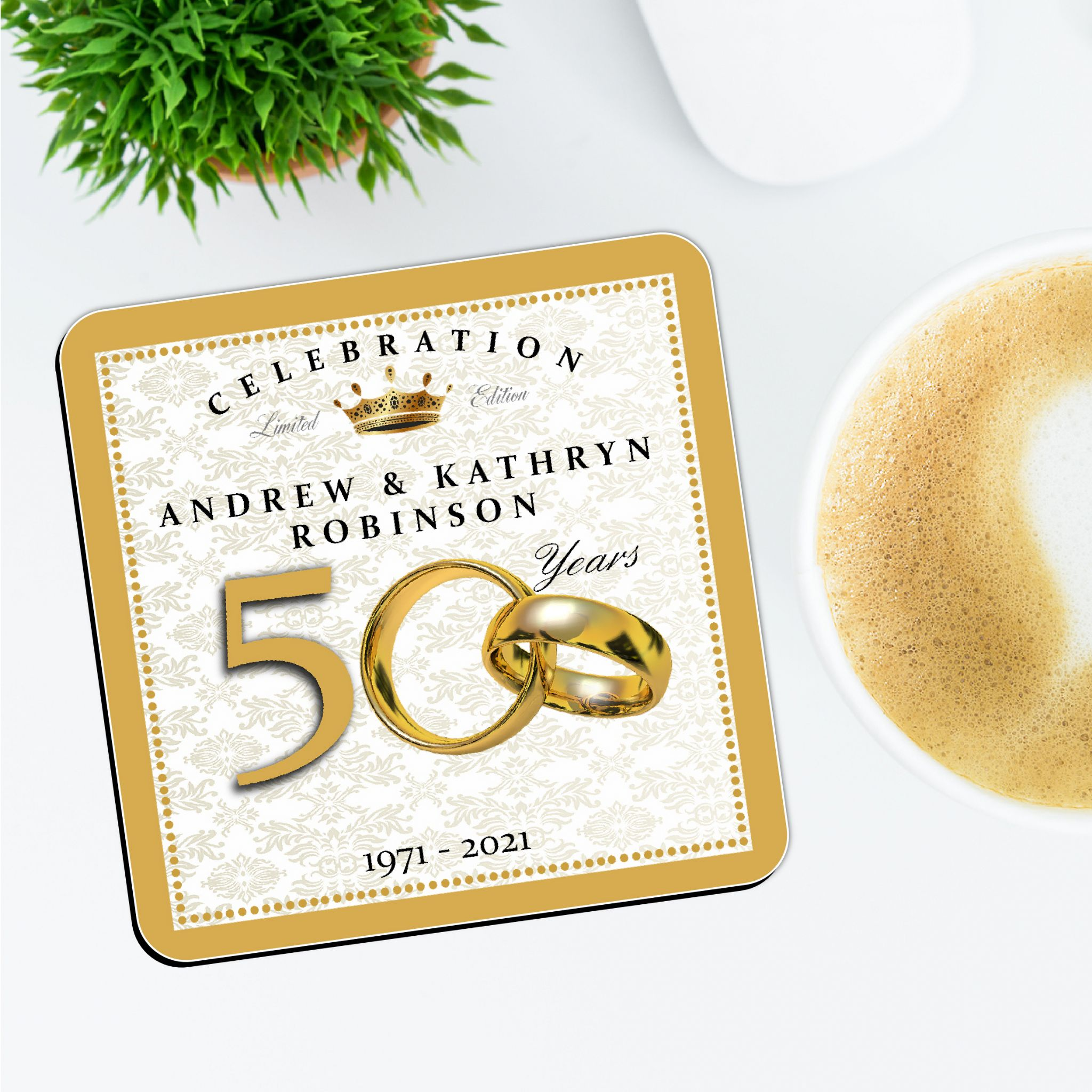 Personalised 50th Wedding Anniversary Gifts: Personalised Golden 50th Wedding Anniversary Coasters N3