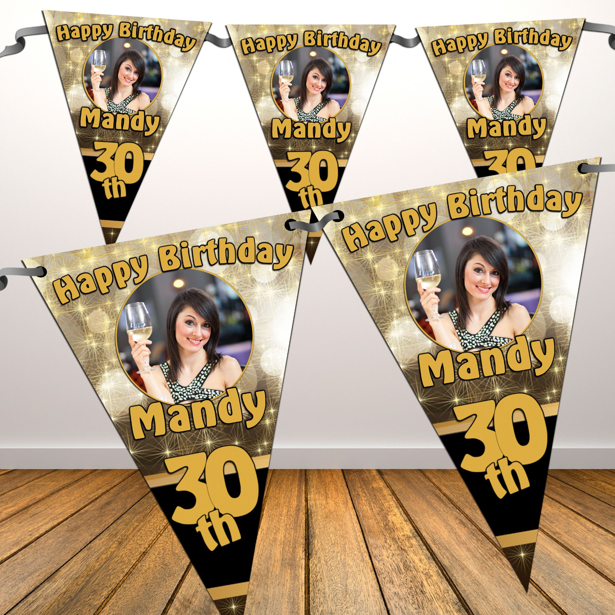 Personalised Happy Birthday Black & Gold Sparkle Flag