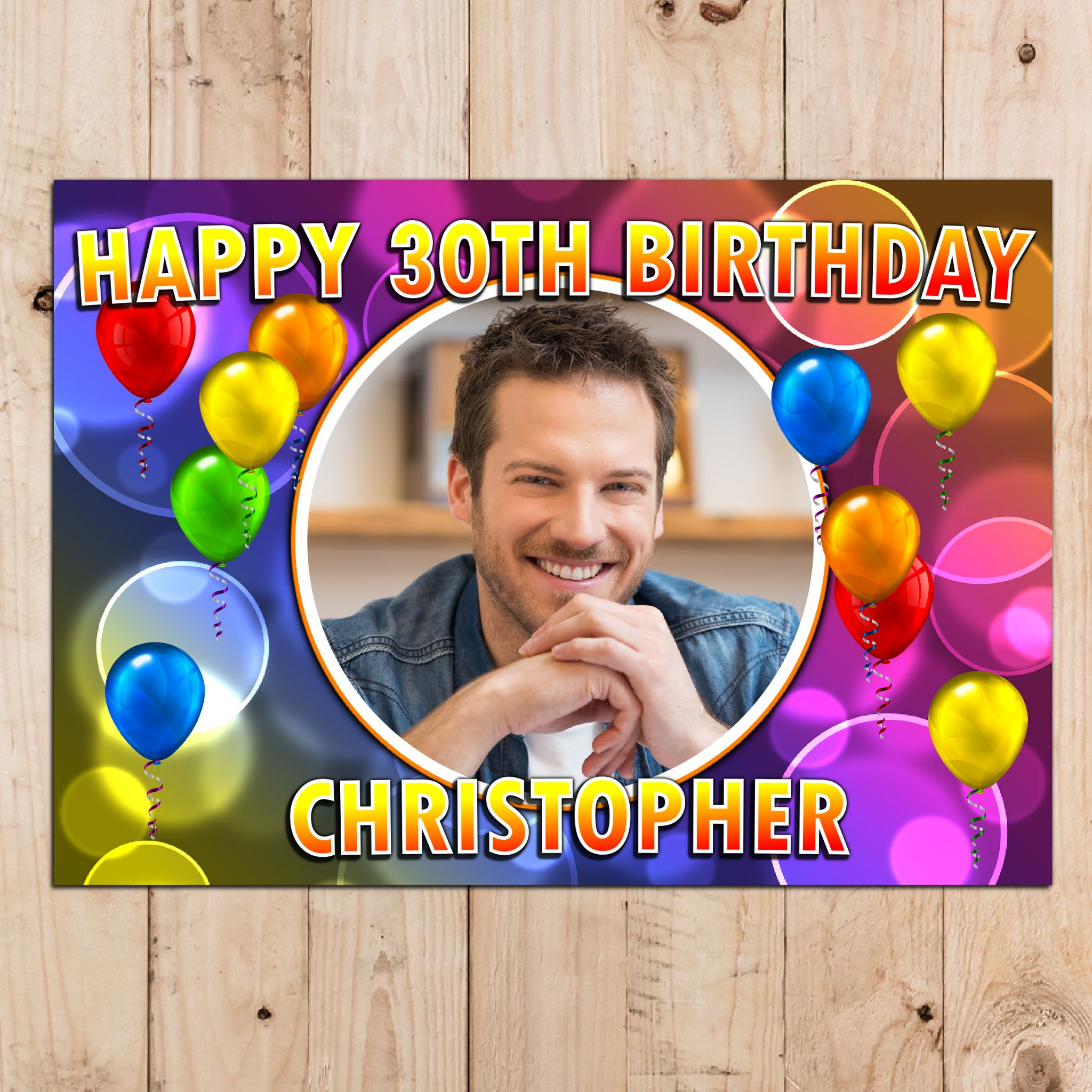 personalised happy birthday party photo banner poster n85