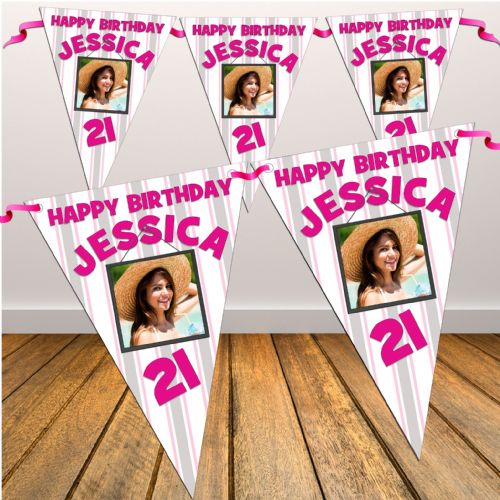 Personalised 18th 21st 30th 40th Birthday Party Flag Banner Bunting N65 Any age