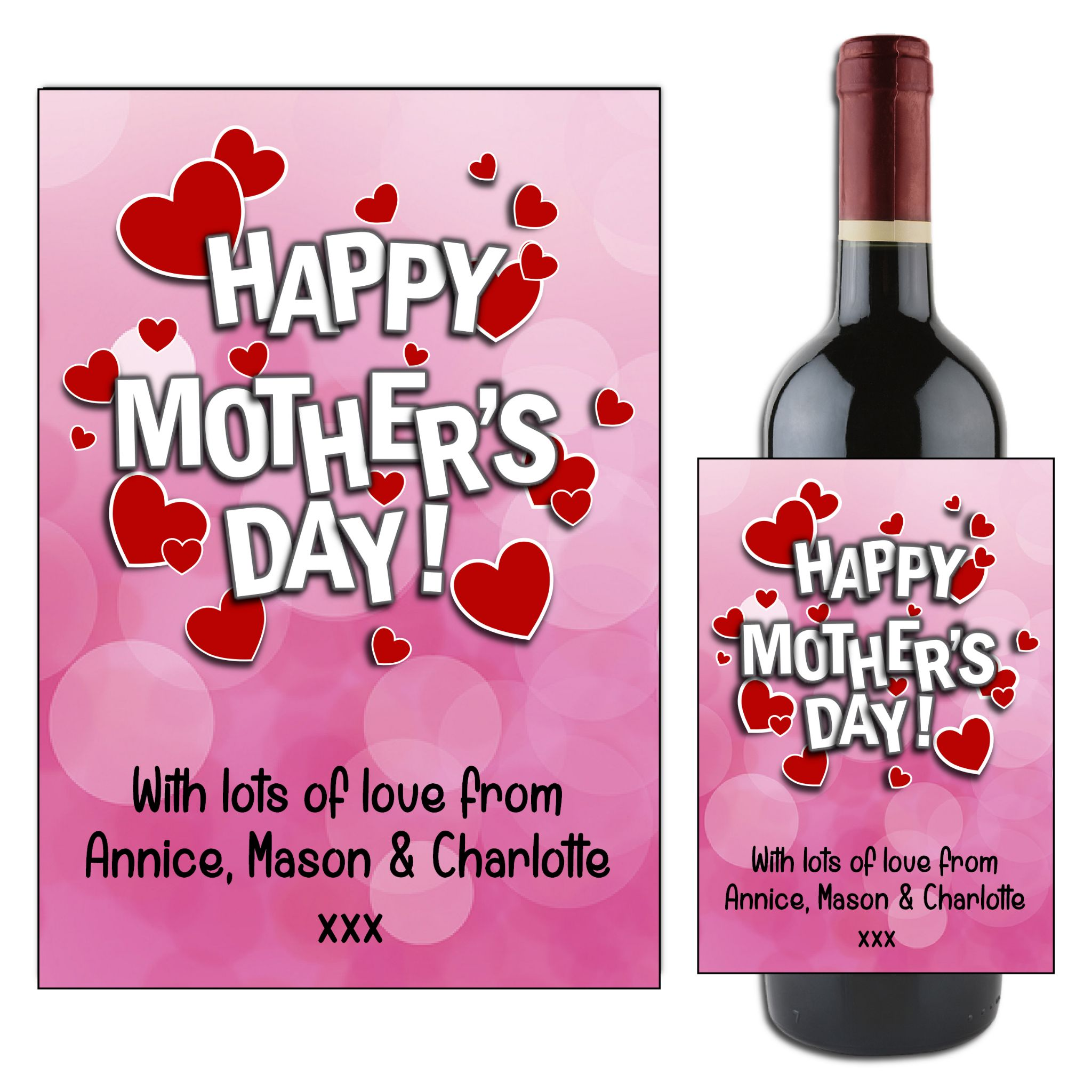 Happy Mother/'s Day Wine label Personalised gift for Mum
