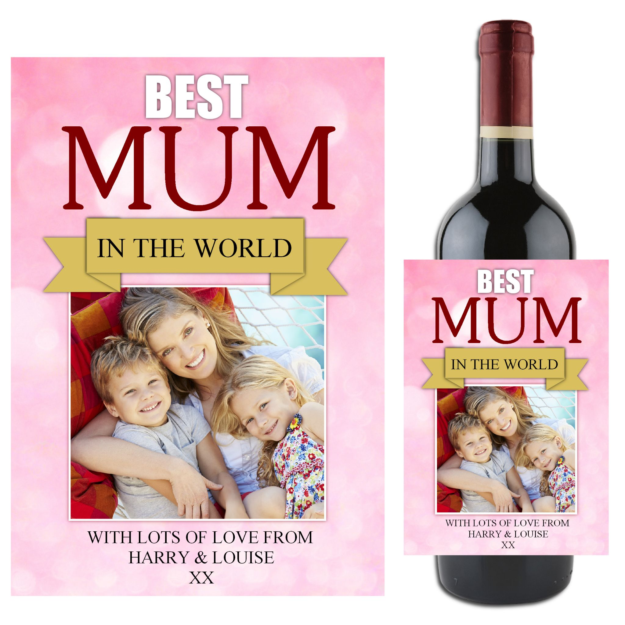 Mothers Day Gift Idea Personalised Best Mum Wine Champagne Bottle Label N81