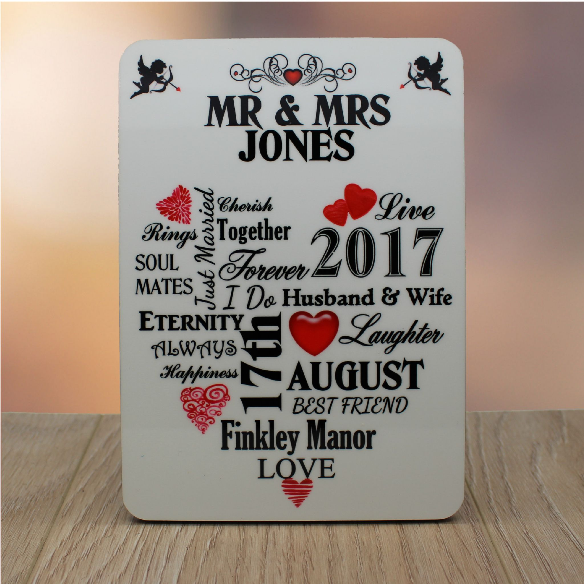 personalised mr mrs wedding word art wood panel frame print f45 wedding keepsake gift - Mr And Mrs Frame