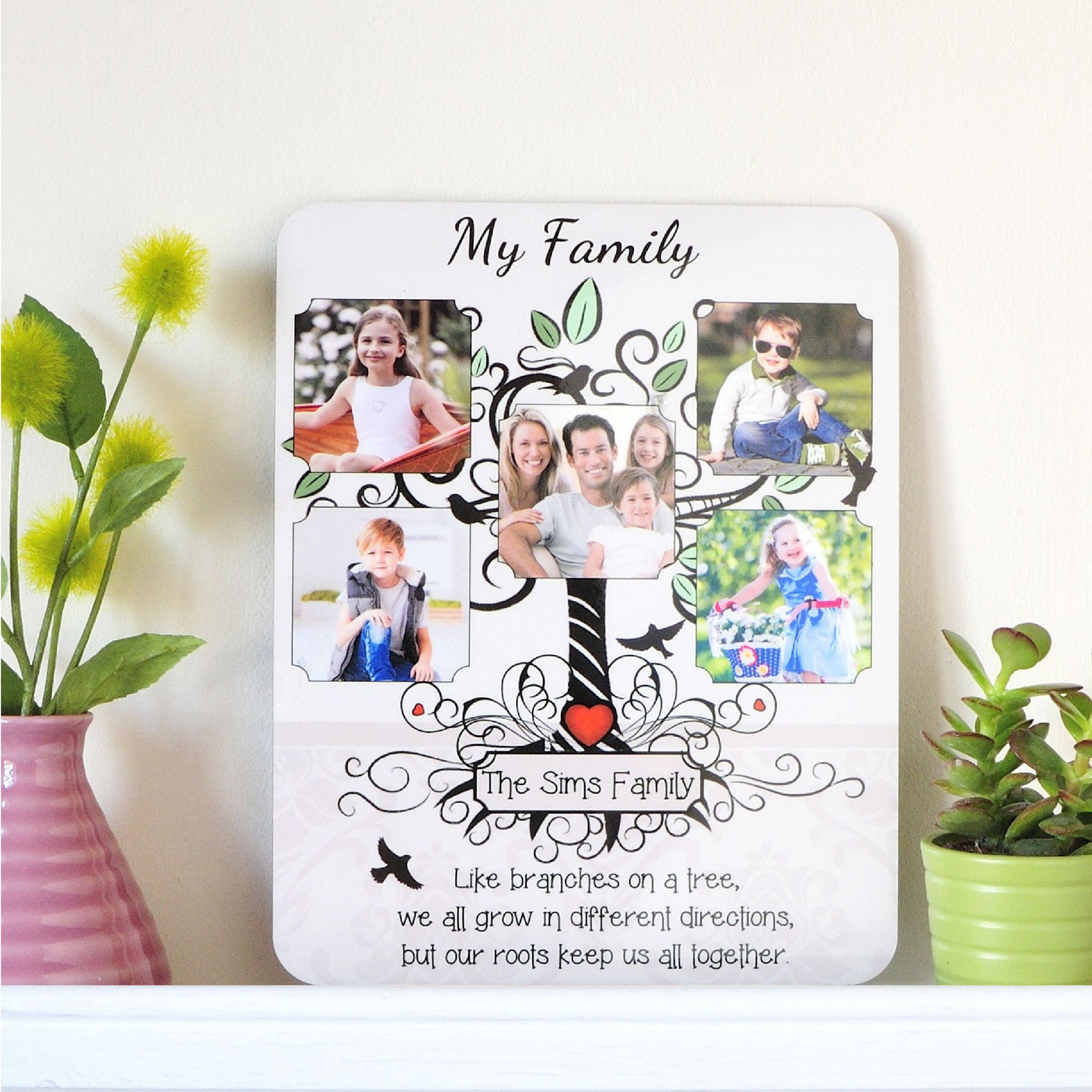 Personalised My Family Tree Glossy Wood Photo Frame F55 - Perfect ...