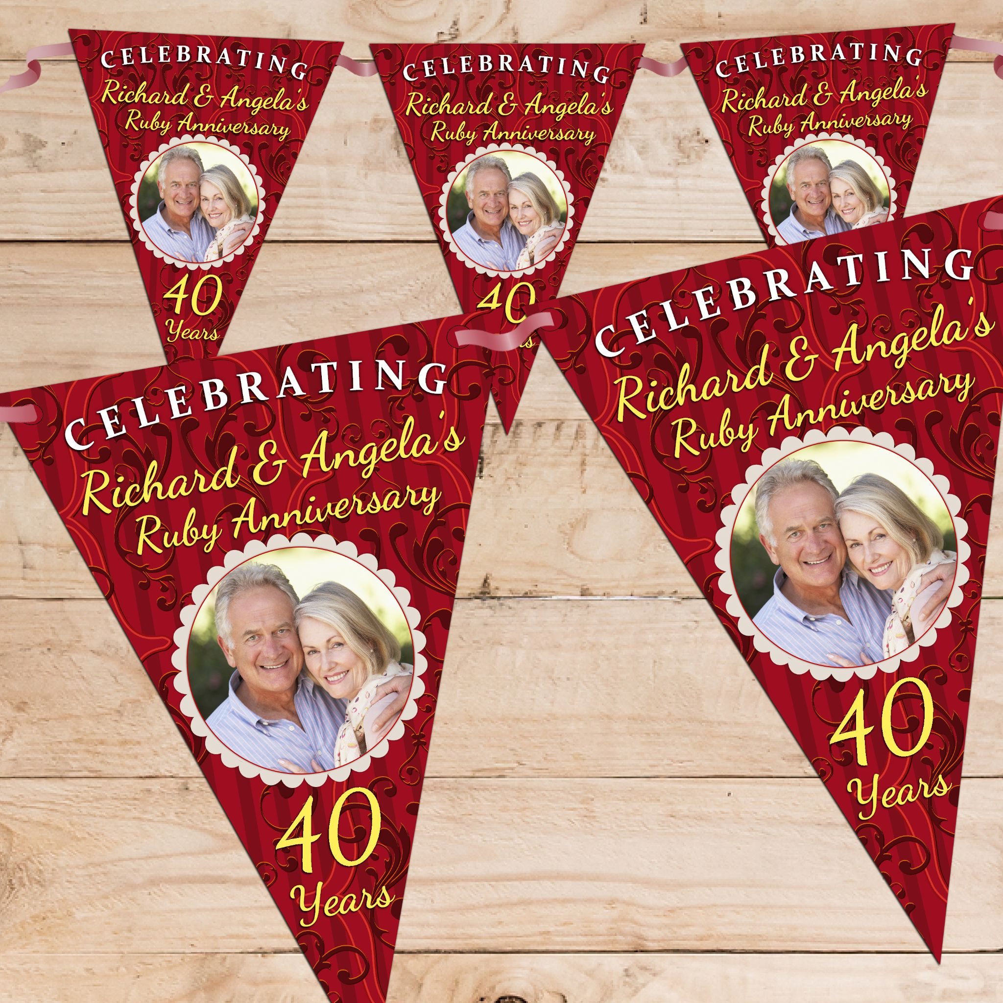 Personalised Ruby 40th Wedding Anniversary Celebration Photo Flag Banner Bunting N61