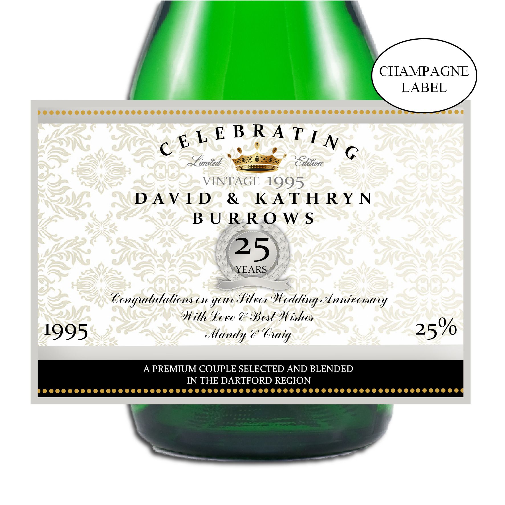 Personalised Silver 25th Wedding Anniversary Wine//Champagne Bottle Label ~ Gift Idea N15.