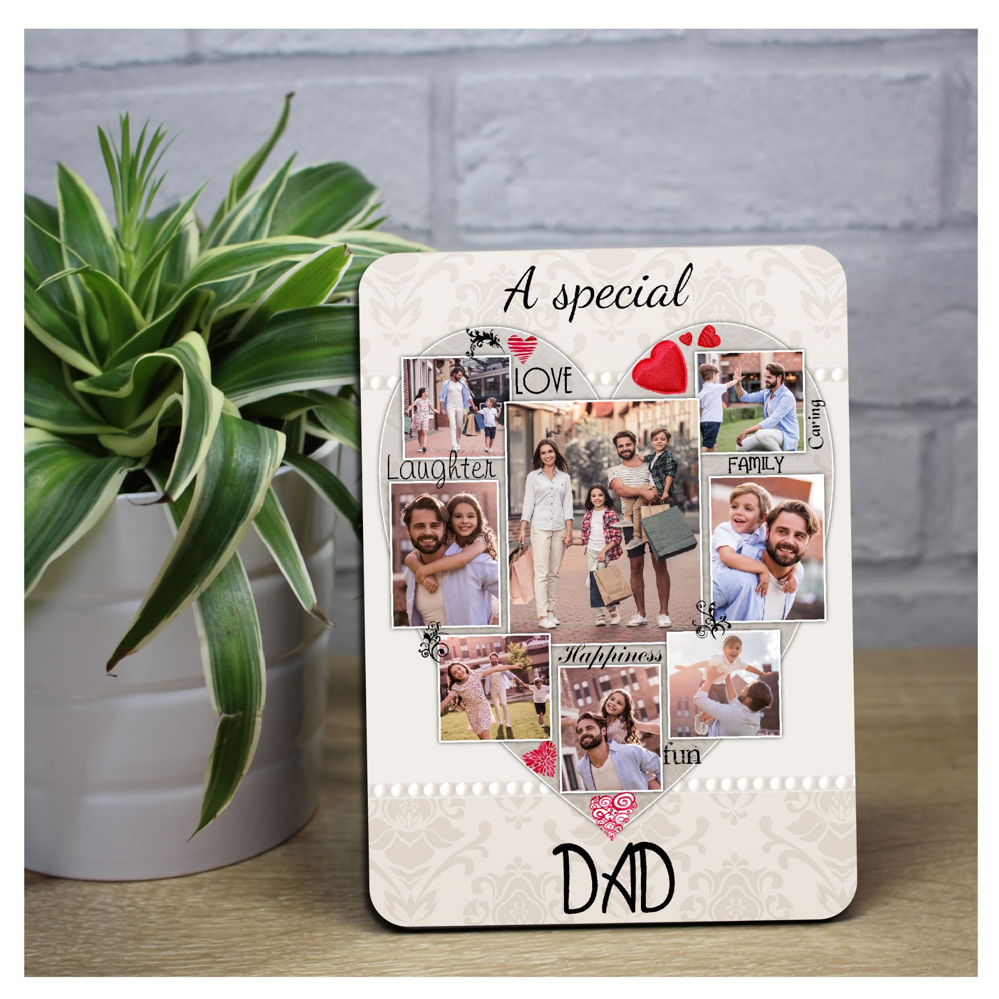Personalised Special DAD Word Picture Art Wood Photo Frame Panel