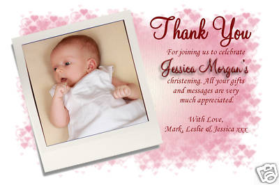 10 Personalised Thank you Thankyou  PHOTO Cards No86