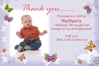 10 Personalised Thank you Thankyou  PHOTO Cards No98