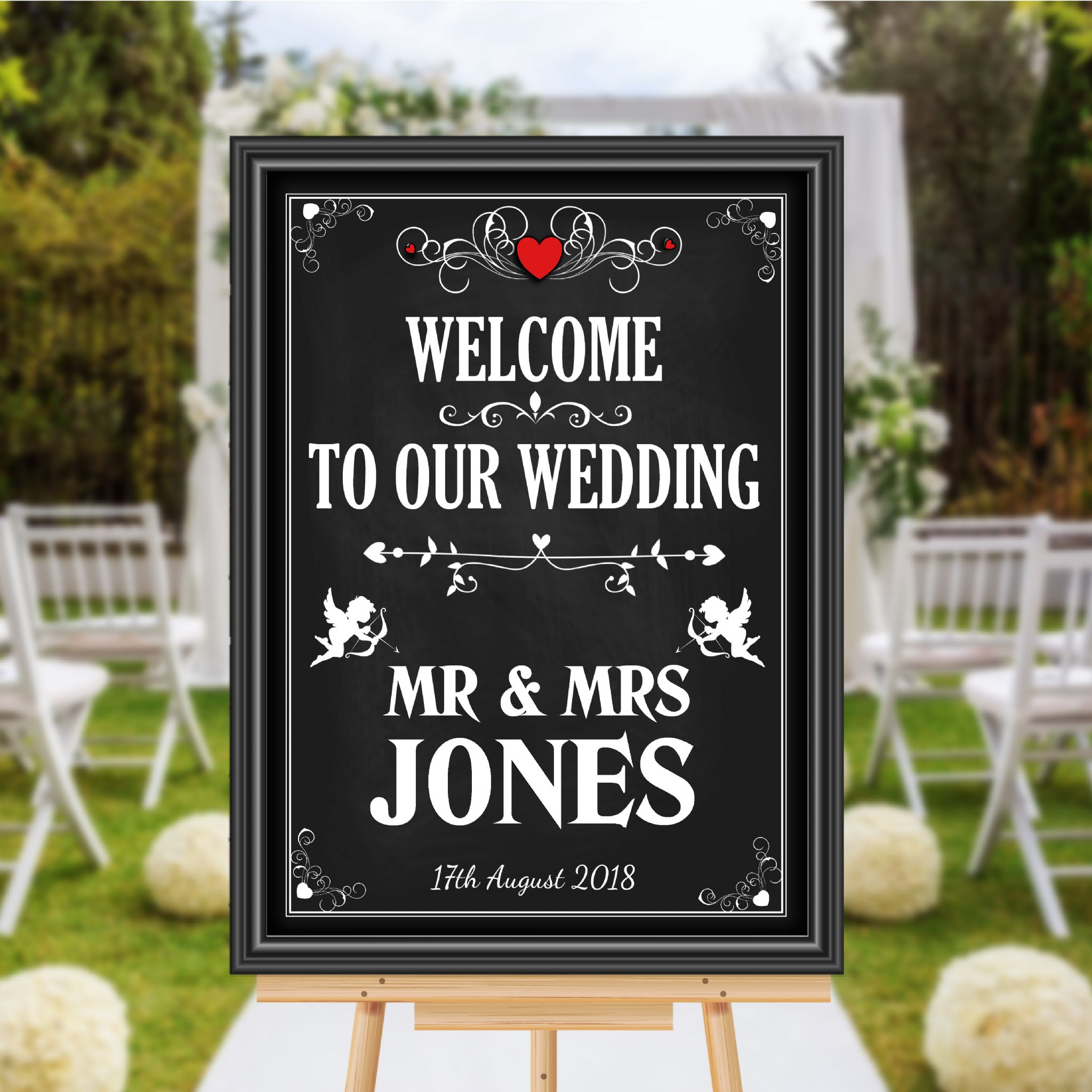 Personalised vintage welcome to our wedding sign poster banner personalised vintage welcome to our wedding sign poster banner chalkboard style print n110 junglespirit Choice Image