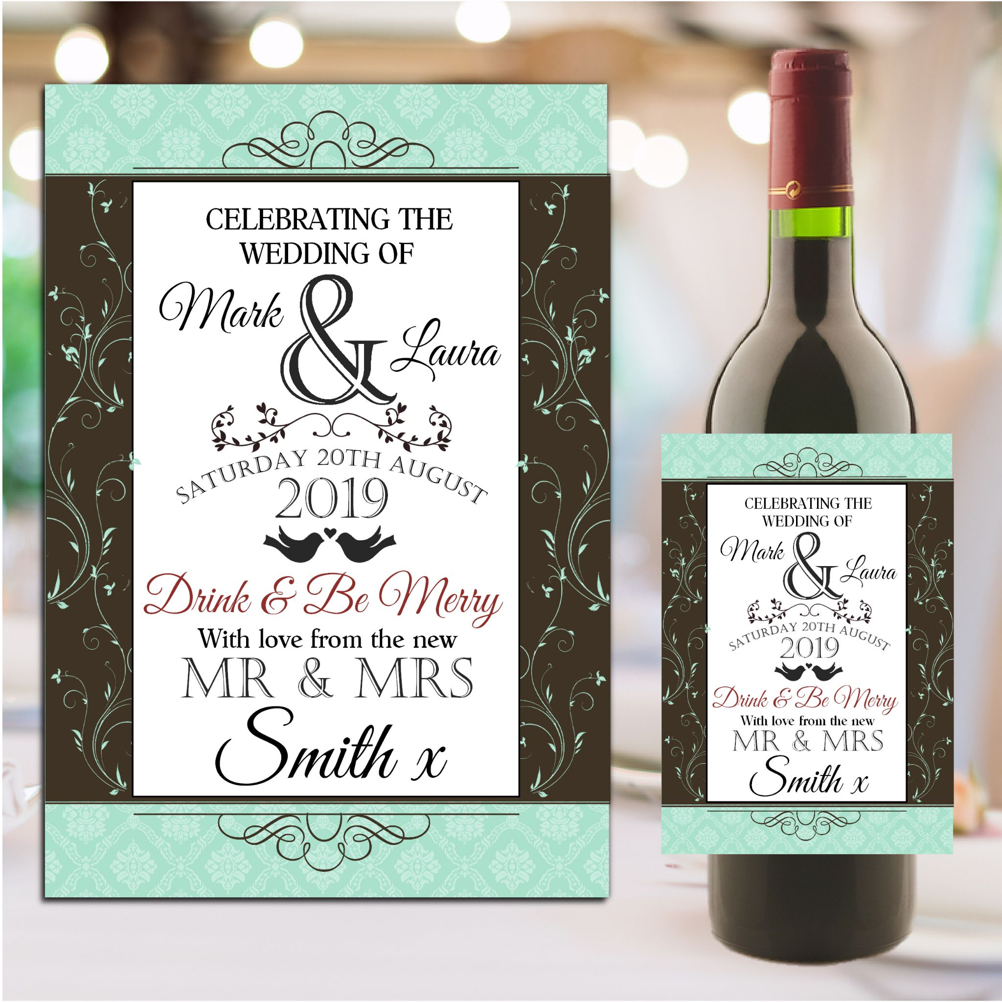 personalised wedding day table wine champagne bottle label n116