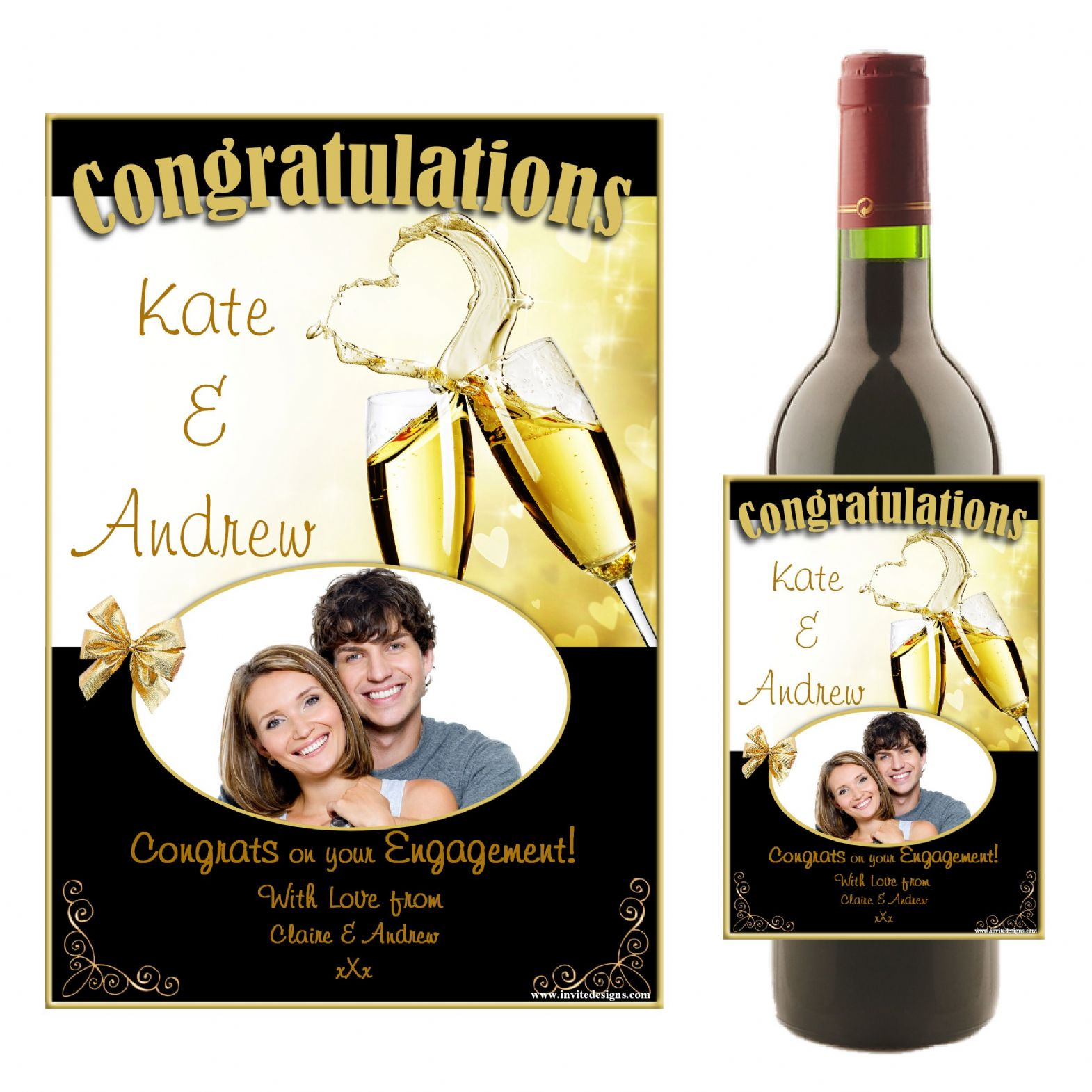 Personalised Wedding Engagement Congratulations Wine Champagne Bottle Photo Label N16