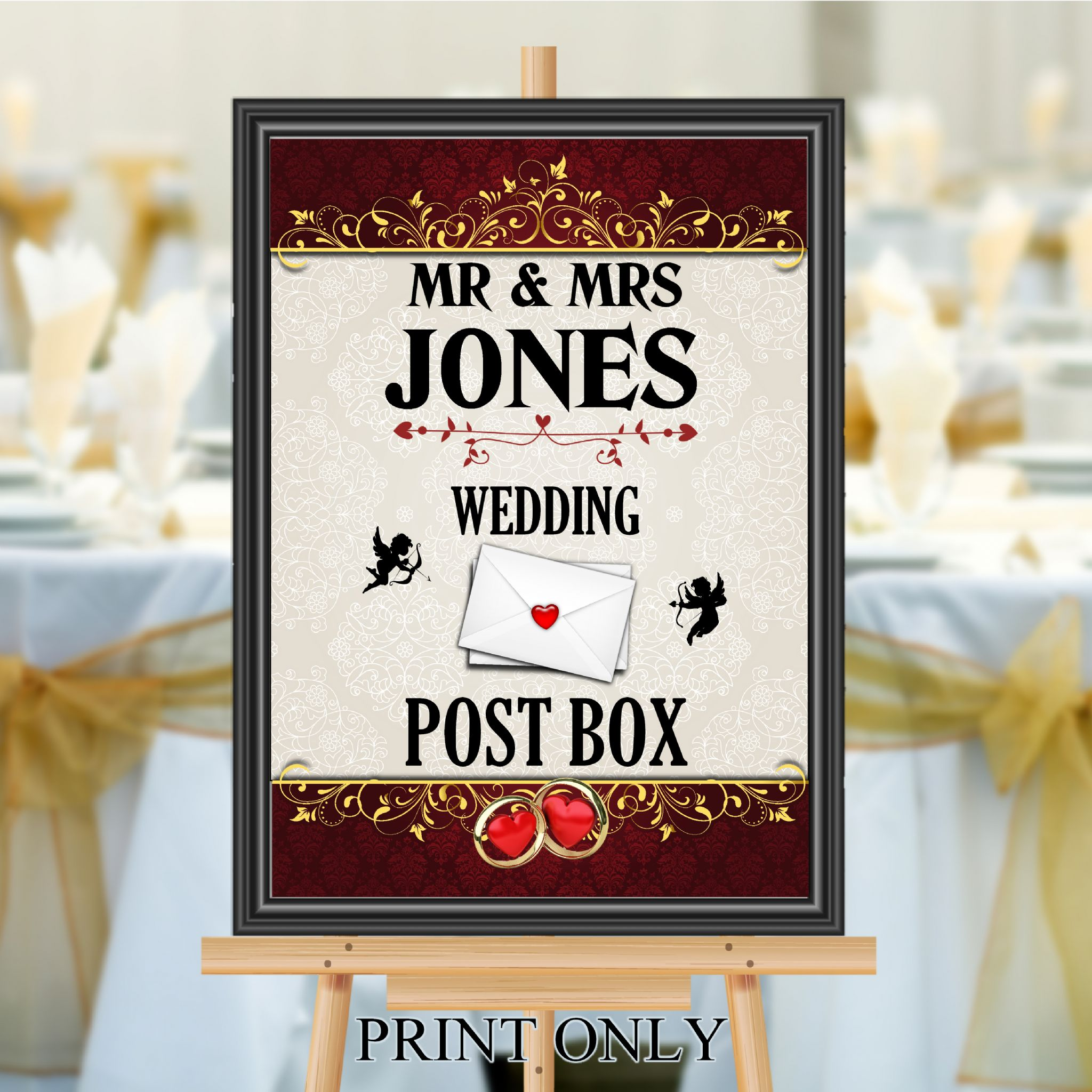 Personalised Wedding Money & Cards Post Box Sign Poster Banner