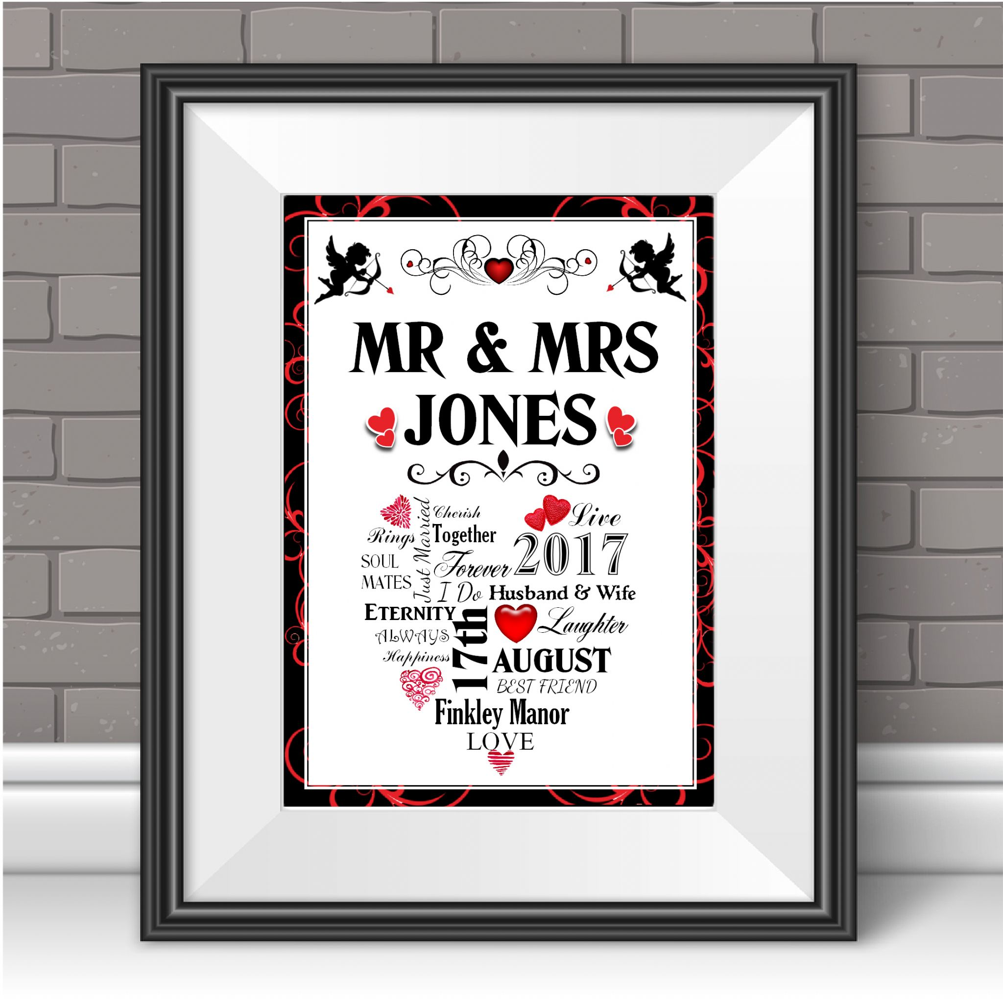 personalised wedding print word art anniversary keepsake marriage gift n100 unframed