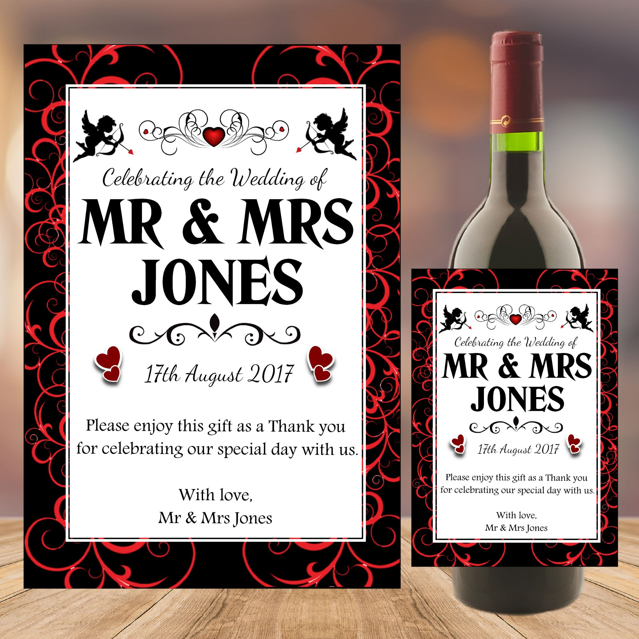 Personalised Wedding Word Art Table Favours Gift Wine Champagne ...